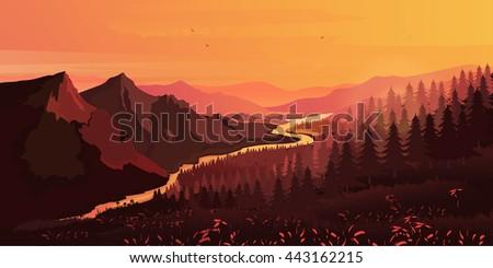 landscape mountains  ascending