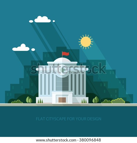 landscape. municipal building, Hall, the Government, court on the background of the city. Construction public institution. Flat vector illustration.