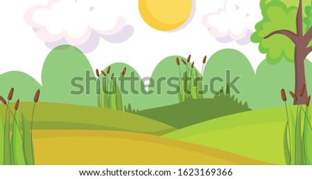 landscape nature tree clouds sun bush grass vegetation vector illustration