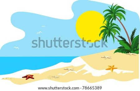Landscape of a coast of tropical island vector
