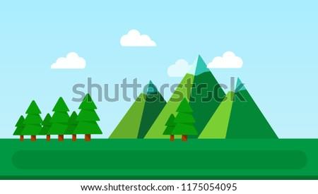 landscape of a green meadow