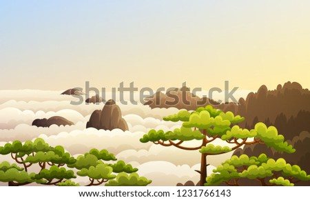 5ad9e578c Landscape of china mountains with sea of clouds and green trees. Morning  scene with sunrise