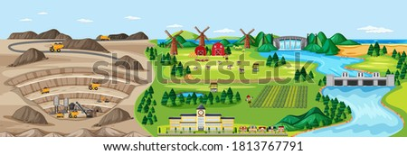 Landscape of coal mine and agriculture land illustration