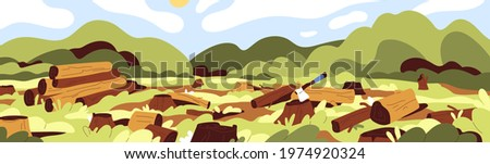 Landscape of dead nature with cut felled trees in forest. Deforestation, wood devastation and ecosystem destruction concept. Panoramic view of trunks and stumps. Colored flat vector illustration Stockfoto ©