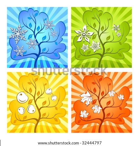 Landscape of different seasons summer, winter, spring, autumn, weather illustration