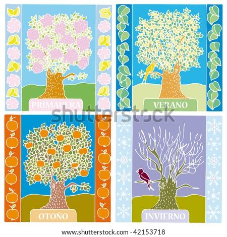 Landscape of different seasons summer, winter, spring, autumn, weather illustration in SPANISH