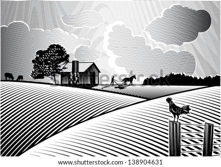 landscape of farmer plowing