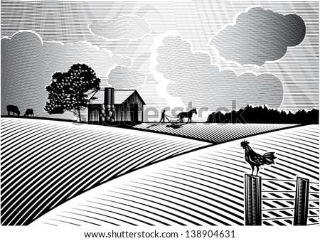 landscape of farmer plowing