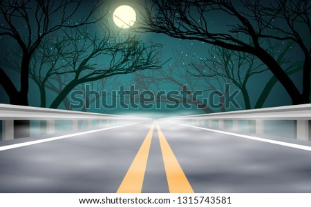 landscape of foggy road in the