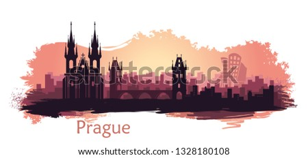 landscape of prague with sights
