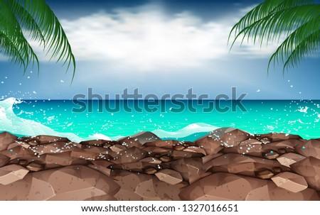 landscape of rock beach