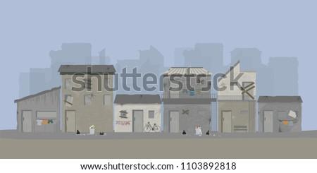 Landscape of slum city or old town slum urban area, vector illustration.