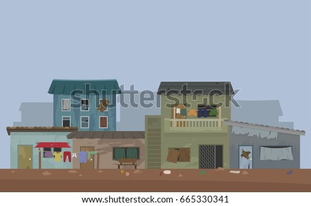 Shutterstock landscape of slum city or shanty town vector
