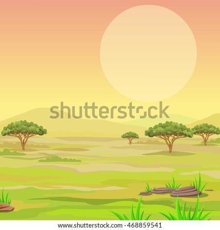 Landscape of the African savanna. Vector illustration.