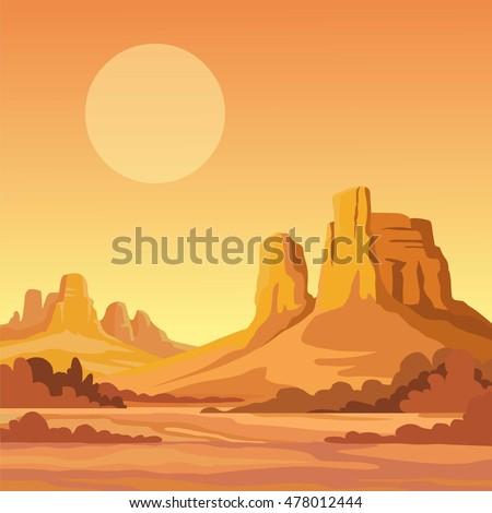 landscape of the desert vector