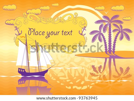 landscape of the island, sailboat and sunset