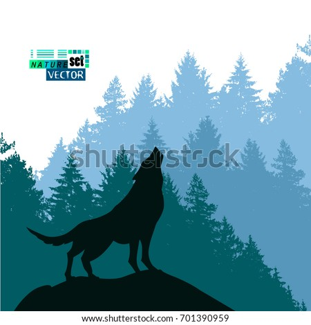 Landscape of trees with a howling wolf. Vector