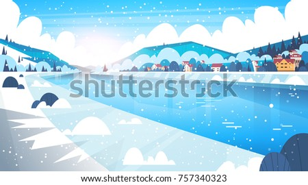 landscape of winter village