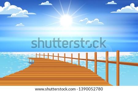 landscape of wood bridge at the