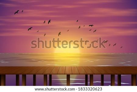 landscape of wooden bridge on