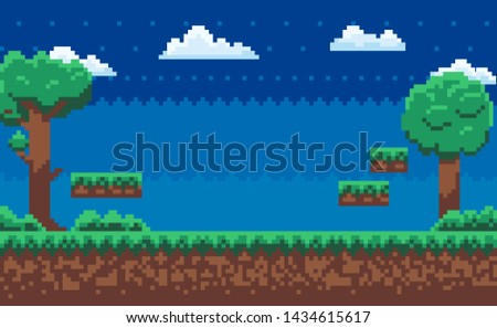 Landscape page of pixel game, green trees and bushes, cloudy sky, underground and grass, road with steps, adventure platform, nobody poster vector, pixelated nature for mobile app games