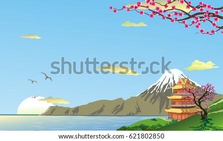 landscape pagoda on the coast