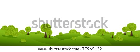 Landscape Panorama, Isolated On White Background, Vector Illustration
