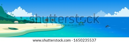 Landscape Panorama. Tropical paradise. Sea coast on a sunny day. Ocean shore with palm trees and a boat on the yellow sand, a hut in the distance. Pier. Calm sea, a dolphin emerging from water. Vector