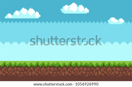 Landscape pixel art style blue sky, white clouds, green grass on ground vector illustration game interface design in 2D design, scenery of environment