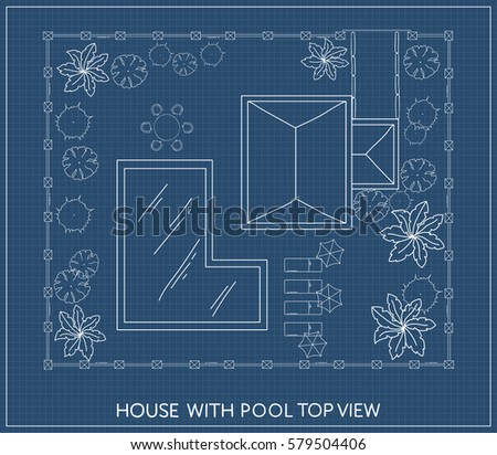Landscape Plan Of The House With Swimming Pool Furniture And Trees In Top View