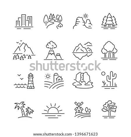 landscape related icons  thin