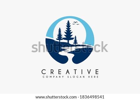 Landscape River Creek Logo Design, Vector Nature Brand Logo