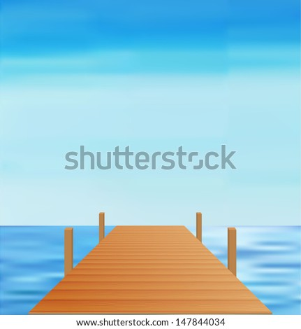 landscape sea way vector