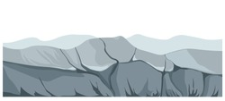 Landscape showing mountains and rocks of abandoned place. Scenery with gloomy atmosphere, surroundings with rigid relief and cliffs, wilderness area with rough ground texture. Vector in flat style