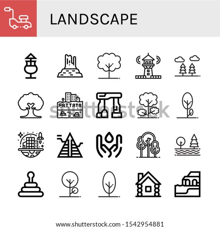 landscape simple icons set