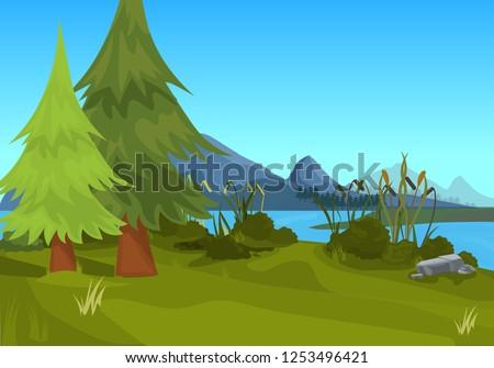 landscape spruce mountain river