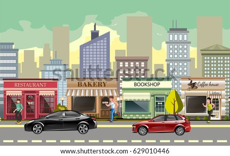 landscape street with cars