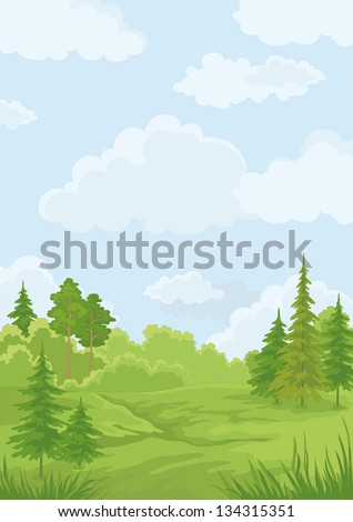 Landscape: summer green forest and blue sky. Vector illustration