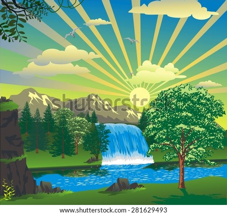 landscape - sunrise over a waterfall