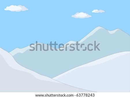 Landscape: the mountains covered with snow, the blue sky and white clouds