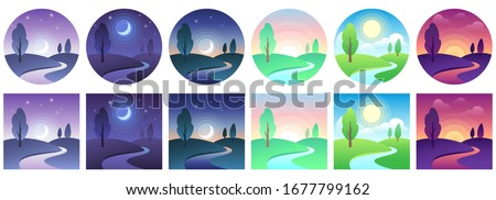 landscape time icons sky and