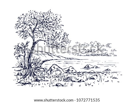 Landscape tree, lake, stones sketch. Hand drawn vector illustration.