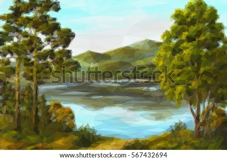 landscape  trees on the shore