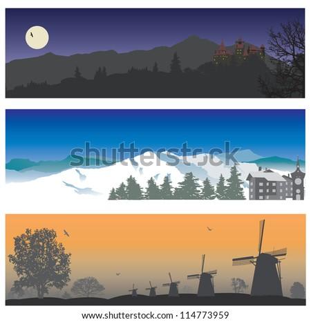 landscape vector set