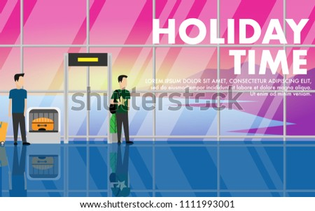Landscape view of the inside of airport passenger terminal building with passengers and