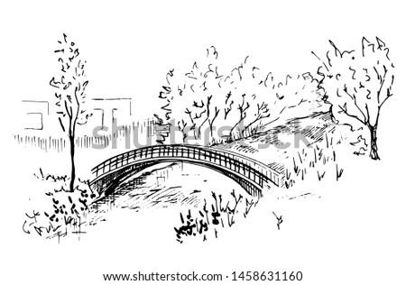 landscape with a bridge hand