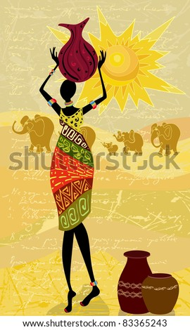 landscape with an African woman decorative - stock vector