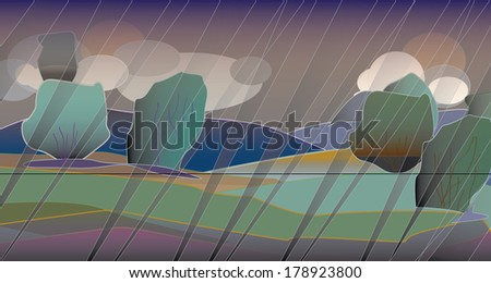 Landscape with bad weather. Clouds, rains