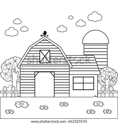 Landscape with barn or farmhouse, fence and orchard trees. Black and white coloring book page