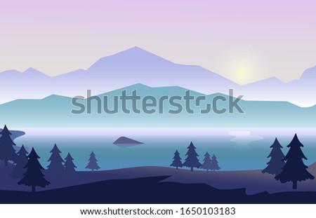 landscape with beautiful purple